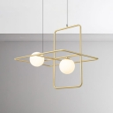 Simplicity Designers Lights Metal Rectangular Ring LED Chandelier 2/3/4 Light Frosted Glass Globe Chandelier in Gold Finish