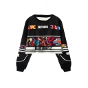 Black Funny Cartoon Printed Round Neck Long Sleeve Cropped Sweatshirt