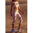 Fashion Pink 3D Printed Tank Top Cropped Pants Sports Yoga Co-ords for Women