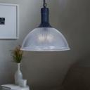 Black Finish Dome Ceiling Pendant Light with Swirl Glass Vintage 1 Light Lighting Fixture for Cafe Restaurant