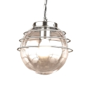Simple Modern Global Hanging Light with Clear Glass Shade 1 Head Indoor Lighting Fixture in Chrome/Black
