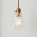 Modern Cone Mini Pendant 1 Light Clear Glass in Brass for Bedside Hallway