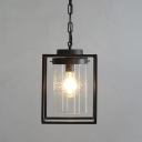 Traditional Style Ceiling Pendant 1 Lighting with Clear Glass Rectangle Shade in Black for Warehouse
