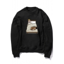 Funny Cartoon Character Printed Round Neck Long Sleeve Pullover Sweatshirt