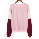 Hot Fashion Colorblock Long Sleeve Round Neck Pink Sweater for Women