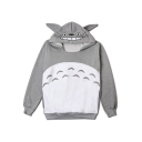 Cartoon Comic Totoro Pattern Color Block Long Sleeve Gray Hoodie for Couple