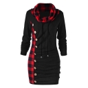 Classic Check Patched Cowl Neck Long Sleeve Slim Fitted Tunic Sweatshirt