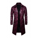 Men's Fancy Notched Lapel Collar Long Sleeve Double Breasted Leather Trench Coat