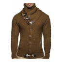 Men's Stylish Classic High Neck Long Sleeve Toggle Button Front Cable-Knit Sweater
