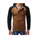 Winter's New Arrival Fashion Color Block Long Sleeve Zip Up Slim Hoodie for Men