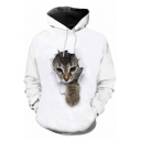 3D Gray Cat Pattern Casual Loose Sports White Hoodie for Men