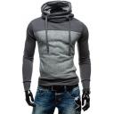 Winter's Leisure Color Block Long Sleeve Slim Fitted Cowl Neck Men's Hoodie