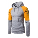 Fashion Wolf Totem Print Colorblock Long Sleeve Slim Fitted Hoodie for Men