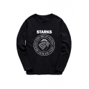 Letter STARKS Printed Long Sleeve Crewneck Fitted Cotton Top