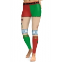 Classic Christmas Red and Green Skinny Fit Sports Leggings