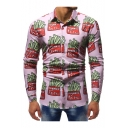 Long Sleeve Lapel Collar Fashion Printed Button Down Slim Fitted Pink Shirt for Men