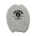 GAME OF THRONES Series Letter Printed Crew Neck Long Sleeve Gray Cotton Sweatshirt