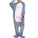 Blue Night Owl Cosplay Fleece Unisex Carnival Onesies Sleepwear Pajamas