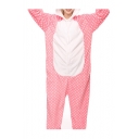 Pink Polka Dot Cat Cosplay Carnival Fleece Onesie Costume Sleepwear Pajama