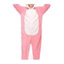 Pink Polka Dot Cat Cosplay Carnival Fleece Onesie Costume Sleepwear Pajama