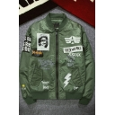Street Style Letter Logo Graffiti Long Sleeve Stand Collar Zip Up Bomber Jacket