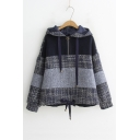 Winter's New Fashion Colorblock Striped Printed Half-Zip Front Gray Hoodie