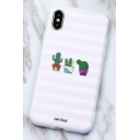 Trendy Pink Striped Cactus Printed Cute Mobile Phone Case for iPhone