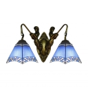 Nautical Style Pyramid Wall Lamp 2-Light Blue Glass Wall Sconce Lighting with Bronze Finish Mermaid Arms