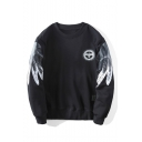 Men's Winter Round Neck Long Sleeve Fashion Eagle Logo Patched Black Sweatshirt