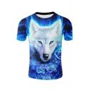 3D Fire Rose White Wolf Printed Crewneck Long Sleeve Blue T-Shirt