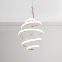 Post Modern Mini Swirl LED Pendant Lighting 47W High Output Curl Chandelier in Gold for Kitchen Bar Cafe