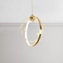 Post Modern Decorative Lights Energy Efficient 7W 4500K Metal Ring Pendant Lighting in Gold with Crystal Beads Decoration 12