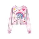 Autumn New Stylish Pink Balloon Unicorn Pattern Round Neck Long Sleeve Cropped Sweatshirt