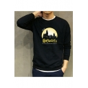 Casual Letter HOGWARTS Printed Crewneck Long Sleeve Fitted Black Cotton Sweatshirt
