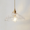 Vintage Scalloped Hanging Light with Textured Glass Shade Single Light Pendant Lamp in Polished Brass