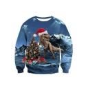 Hot Sale 3D Christmas Dinosaur Printed Round Neck Long Sleeve Blue Sweatshirt