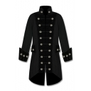 Men's Vintage Cosplay Costume Stand Collar Long Sleeve Colorblock Double Breasted Trench Coat