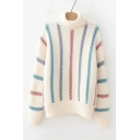 Stylish Colorful Stripes Printed Long Sleeve Turtleneck Casual Sweater