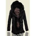 Men's Winter Hooded Long Sleeve Warm Cotton-Padded Inside Zip Up Longline Coat