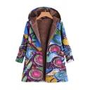 Winter's Trendy Graffiti Pattern Long Sleeve Hooded Zip Up Longline Coat