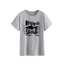 Stylish Letter MAMA SHARK Printed Short Sleeve Round Neck Gray T-Shirt