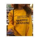 Women's Fashion Letter Printed Crewneck Long Sleeve Pullover Yellow Sweatshirt