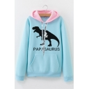 Letter Dinosaur Printed Fashion Colorblock Long Sleeve Casual Hoodie