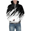 Black and White Color Block Long Sleeve Sports Leisure Hoodie for Couple