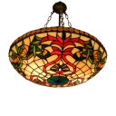 Splendid Baroque Style Tiffany Art Glass Inverted Hanging Pendant Light 18.11 Inch Wide