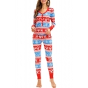 Christmas Deer Printed V Neck Long Sleeve Top Sleepwear Co-ords for Women