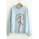 Girls' Lovely Cartoon Cat Pattern Long Sleeve Crew Neck Pullover Sweatshirt