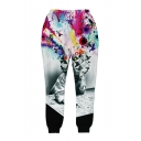 3D Abstract Painting Printed Elastic Waist Sports Sweatpants