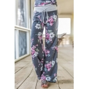 Hot Popular Floral Printed Tied Waist Loose Casual Wide Legs Pants