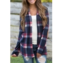 Hot Popular Classic Color Block Check Printed Long Sleeve Open Front Blouse Top